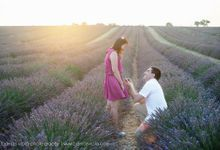 Surprise Proposal in Lavender Field by Barnas Viola Photography