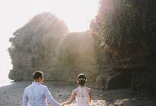 Graceful Beach and Mountain Prewedding in Bali by fire, wood & earth